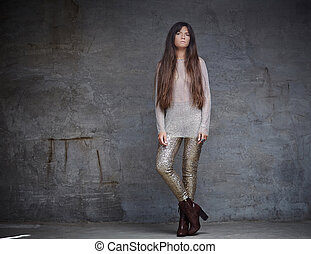 marrom, mulher, hair., longo, na moda
