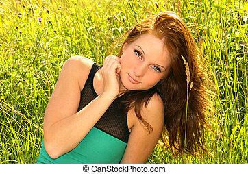 marrom, mulher, romanticos, natureza, capim, cabelo longo, campo, verão, verde, flores