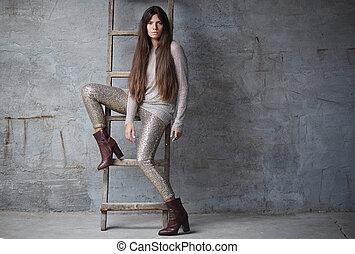 marrom, na moda, mulher, hair., longo