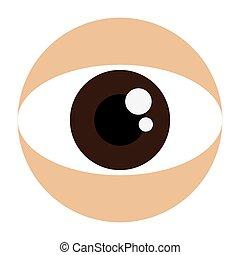 marrom, olho, ícone