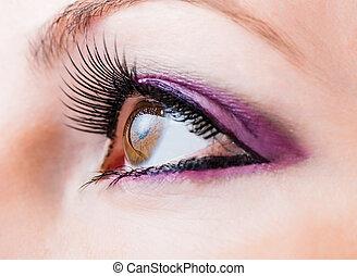 marrom, olho feminino, longo, chicotadas