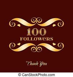 marrom, ouro, sobre, vetorial, seguidores, 100, emblema