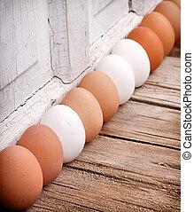 marrom, ovos, branca, cima, alinhado