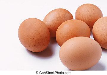 marrom, ovos, seis