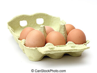 marrom, ovos, seis, pacote