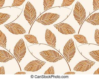 marrom, padrão, folhas, papel parede, -, seamless, vetorial