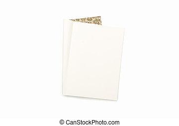 marrom, padrão, isolado, cobertura, diário, em branco, branca, abertos