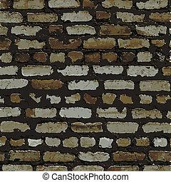 marrom, parede, textura, alívio, tijolo, sombra