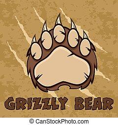 marrom, pata, garras urso