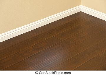 marrom, pavimentando, laminate, installed, baseboards, lar, recentemente