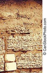 marrom, pedra calcária, antigas, coquina, textura, wall.,...