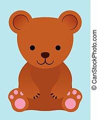 marrom, pequeno, adorável, urso, pelúcia
