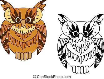 marrom, pequeno, coruja, pássaro, caricatura