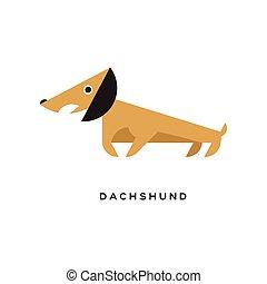 marrom, personagem, caricatura, filhote cachorro, bassê, ícone