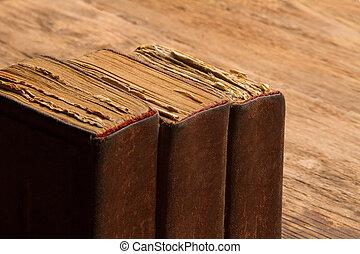 marrom, pilha, conceito, antigas, conhecimento, resistido, espinha, macro, páginas, amarela, cobertura, livro, em branco, envelhecido
