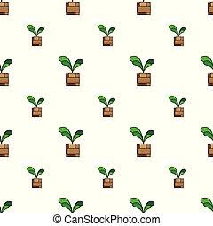 marrom, planta, verde, pote, seamless