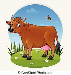 marrom, prado verde, vaca, caricatura