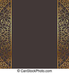 marrom, quadro, vetorial, ouro