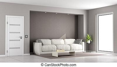 marrom, quarto moderno, vivendo