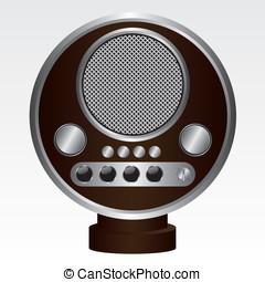 marrom, rádio, retro, ilustração