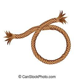 marrom, realístico, partir, corda, ícone