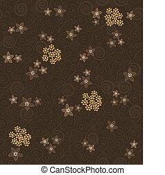 marrom, redemoinhos, e, flores, padrão