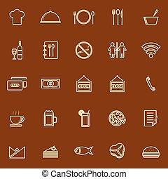 marrom, restaurante, cor, ícones, fundo, linha