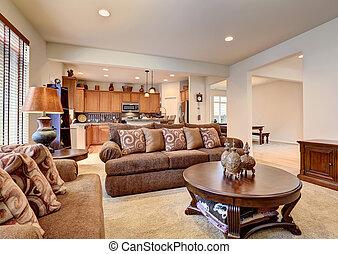 marrom, sala, clássicas, floor., interior, vivendo, branca, tapete