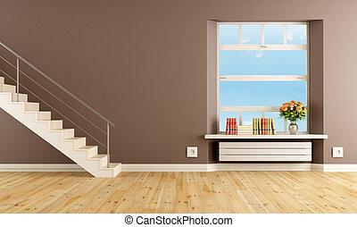 marrom, sala, escadaria, vivendo