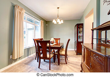 marrom, sala, furniture., clássicas, jantar, verde, interior
