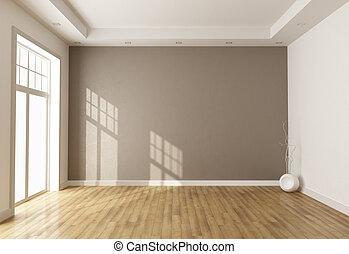 marrom, sala, vazio