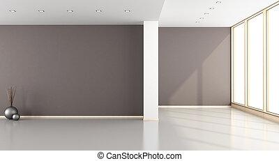 marrom, sala, vazio, vivendo