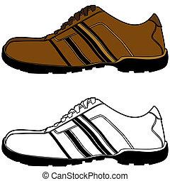 marrom, sapato, esportes