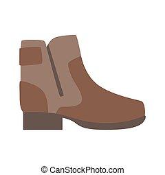 marrom, sapatos, robusto, vigor, isolado, apartamento, item, sapato, ícone, sortimento, loja, calçado