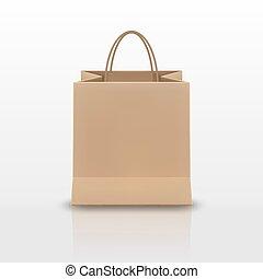marrom, shopping, realístico, isolado, ilustração, saco papel, cabos, vetorial, experiência., branca