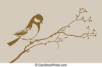 marrom, silueta, ilustração, fundo, vetorial, pássaro