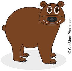 marrom, sorrindo, urso