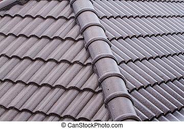 marrom, telhado azulejo