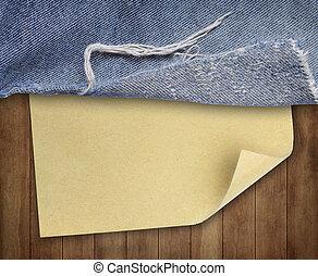 marrom, textura madeira, com, papel, e, calças brim