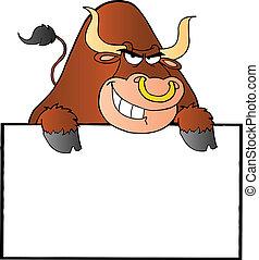 marrom, touro, sinal, em branco