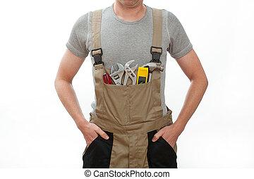 marrom, trabalhador, uniforme