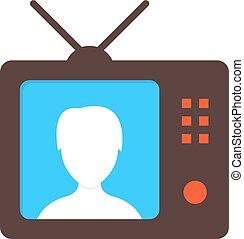 marrom, tv, ícone, com, anchorwoman