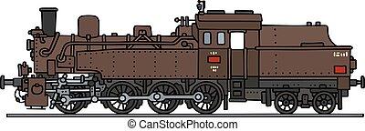 marrom, vapor, locomotiva