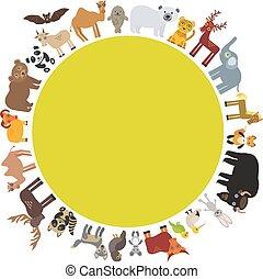 marrom, veado, selo, template., alce, cavalo, camelo, raposa, cabras, gannet, animal, bisonte, polar, frame., leopardo, urso, touro, perdiz, elephant., cartão, morcego, pele, panda, vetorial, lobo, guaxinim, águia, morsa, redondo