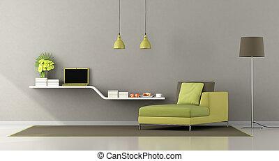 marrom, verde, sala, vivendo