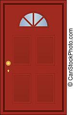 marrom, vetorial, porta, ilustração