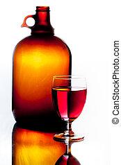 marrom, vindima, garrafa copo, vinho tinto
