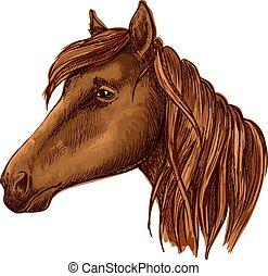 marrone, aggraziato, cavallo, con, occhi tristi, ritratto