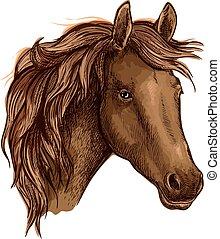 marrone, aggraziato, triste, cavallo, ritratto