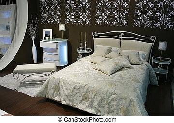 marrone, bianco, camera letto